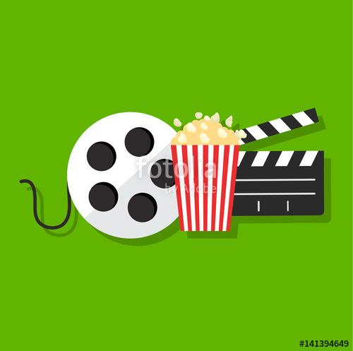 500x497 Movie Film Banner Design Template. Cinema Concept With Popcorn