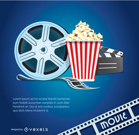 589x570 Movie Vector With Popcorn, Tape And Clapper