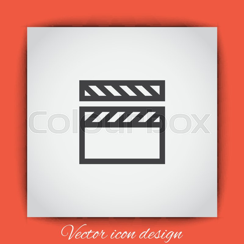 800x800 Video Clapper Vector Icon. Film Or Cinema Sign. Movie Symbol