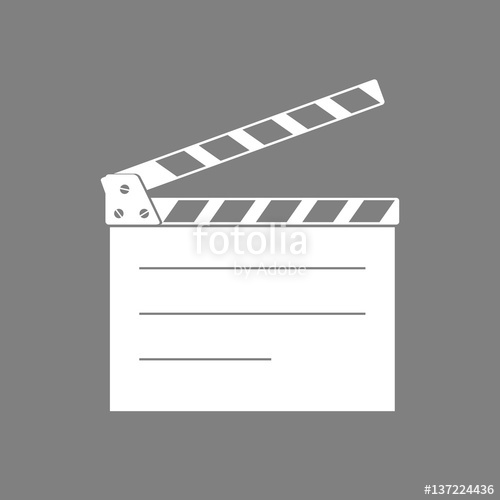 500x500 White Movie Clapper Vector Icon On Grey Background Stock Image