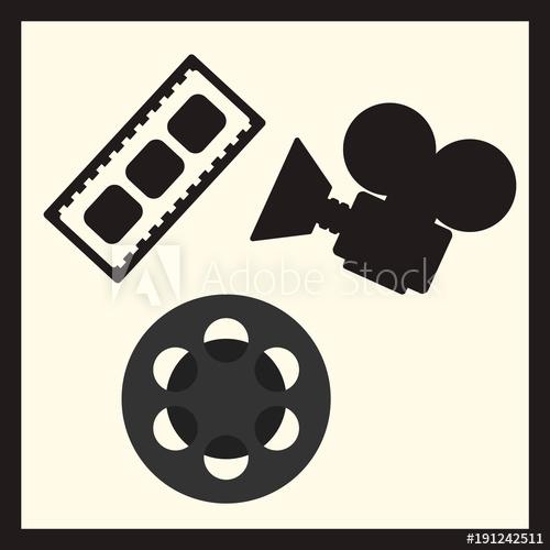 500x500 Film Industry Vector Set Motion Picture Camera, Filmstrip, Cine