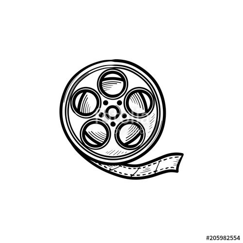 500x500 Movie Camera Reel Hand Drawn Outline Doodle Icon. Motion Movie