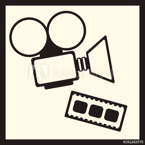 500x500 Movie Camera And Cine Film Vector Illustration Isolated On Light