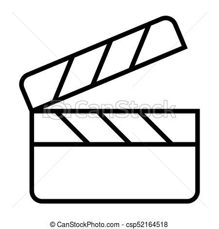 450x470 Movie Clapper Board Line Icon. Film Production Pictogram. Vector