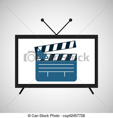 450x470 Screen Tv Movie Clapper Film Vector Illustration Eps 10.