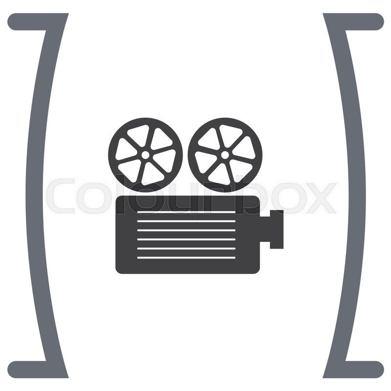 800x800 Movie Projector Vector Icon. Cinema Recording Sign. Movies Symbol