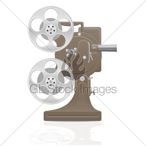 500x500 Old Retro Vintage Movie Film Projector Vector Illustration Gl