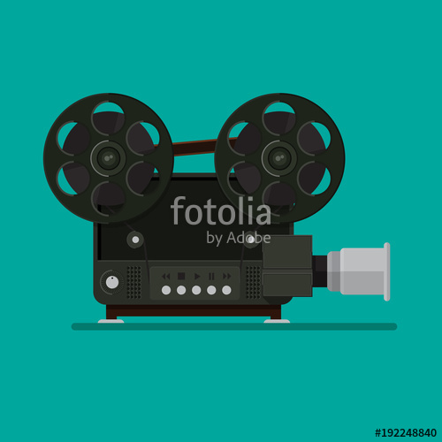 500x500 Old Movie Projector Vector Flat Design. Stock Image And Royalty