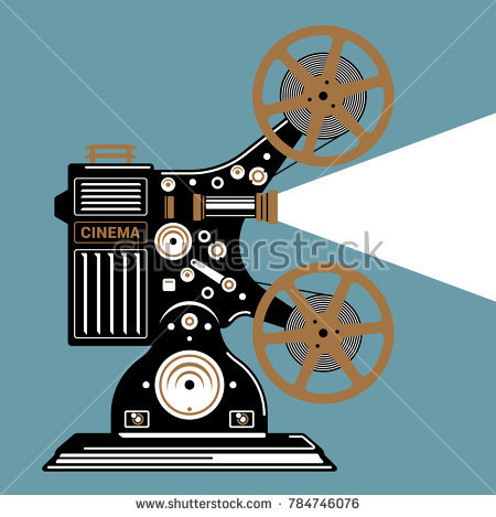 450x469 Retro Movie Projector Vector Detailed Poster Shadow Royalty Free