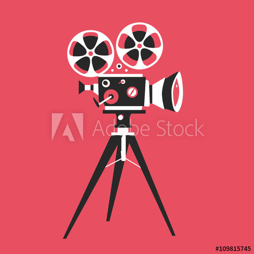 500x500 Retro Movie Projector Poster. Cartoon Vector Illustration. Cinema