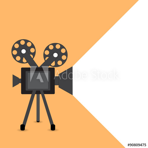 500x500 Retro Movie Projector Vector Detailed Poster With Shadow
