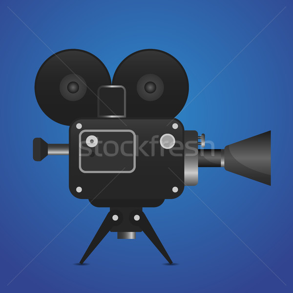 600x600 Retro Movie Projector With Abstract Light Rays Vector Detailed