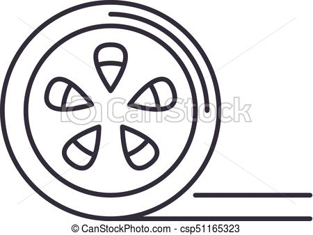 450x338 Movie Reel Vector Line Icon, Sign, Illustration On Background