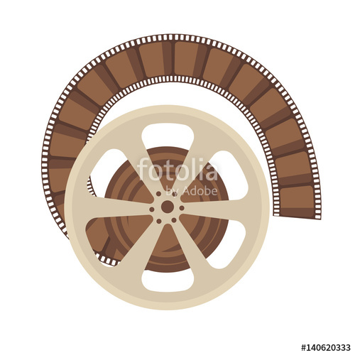 500x500 Cinema Retro Movie Or Film Reel Vector Flat Icon Stock Image And