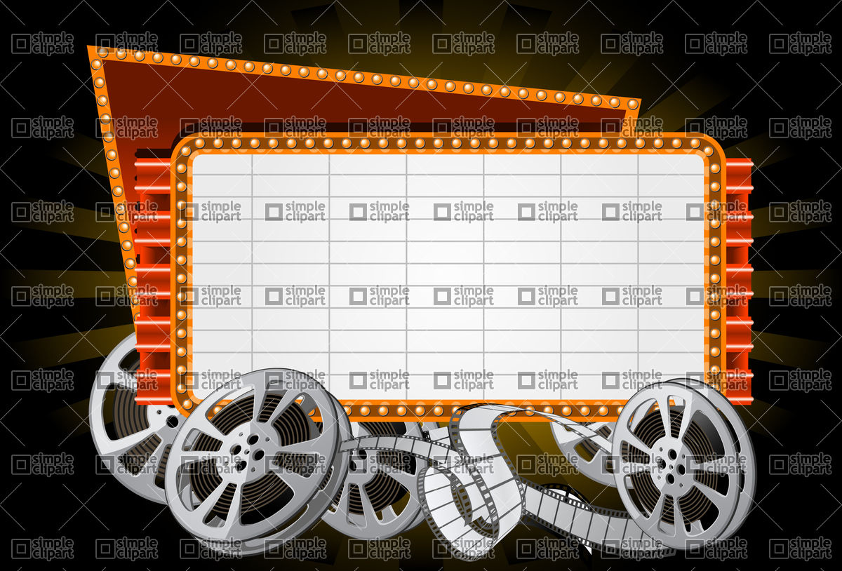 1200x814 Neon Electronic Movie Marquee With Film Reel Vector Image