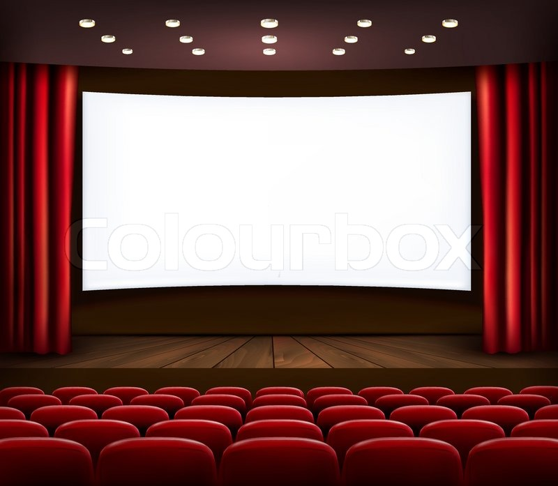 800x697 Cinema With White Screen, Curtain And Seats. Vector. Stock