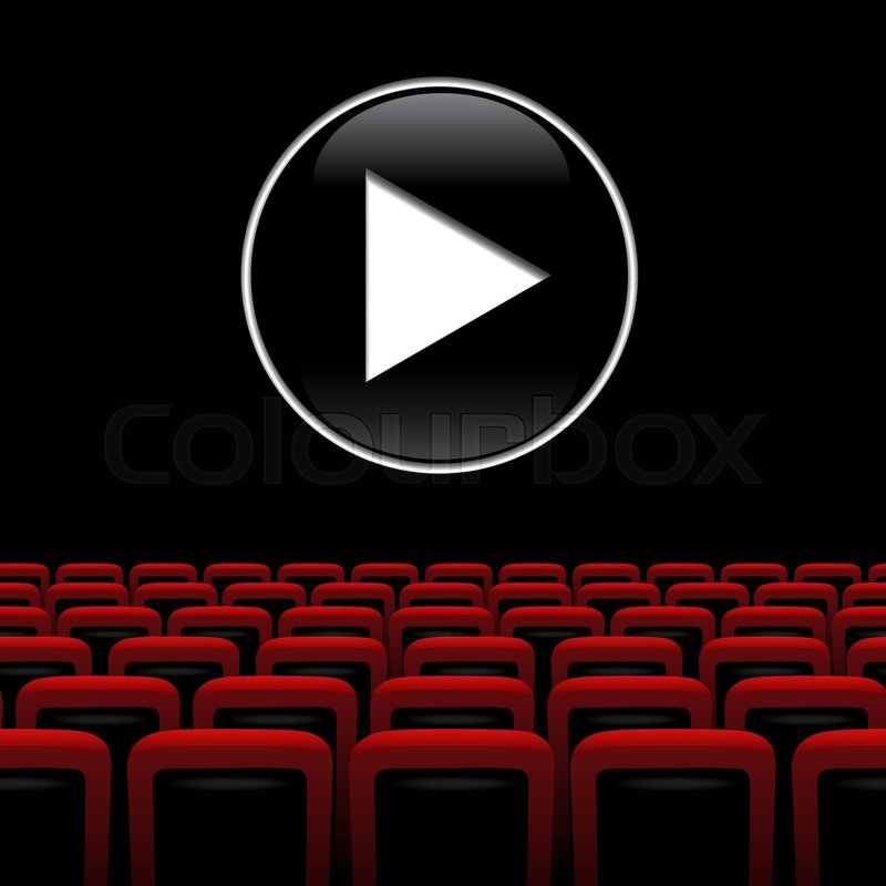 800x800 Movie Theater Background With Red Chairs And Play Symbol. Vector