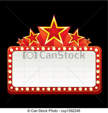 449x470 Neon Sign. Classic Blank Neon Sign For Cinema, Theater Or Casino.