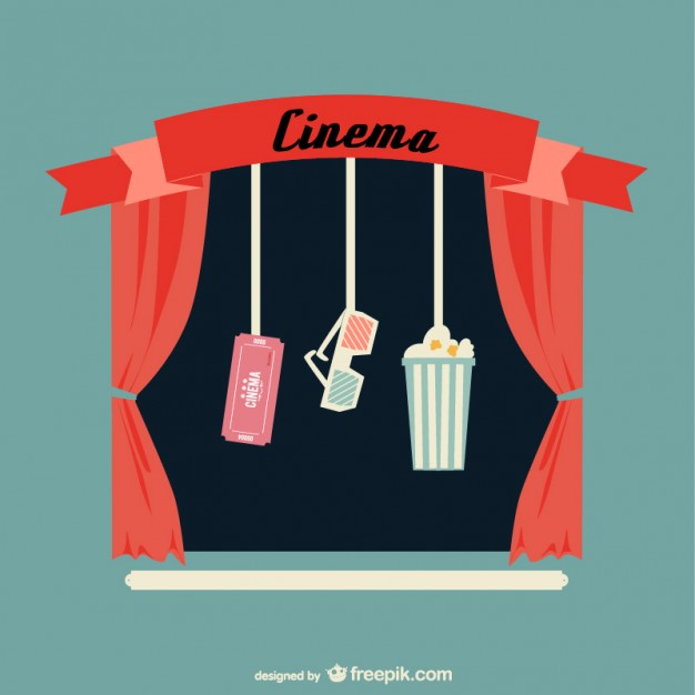 626x626 Retro Cinema With Red Curtains And Popcorn Vector Free Download