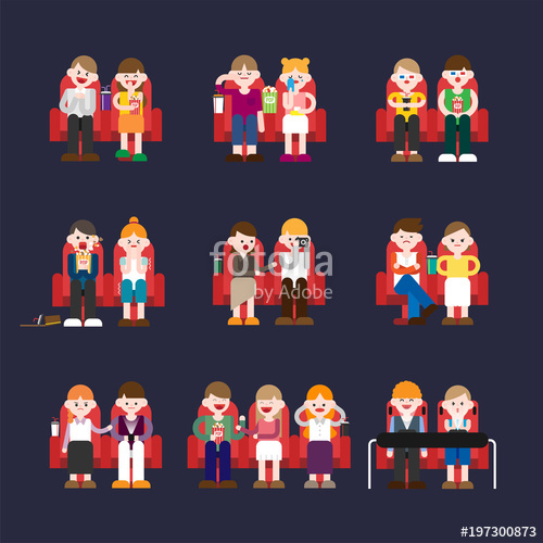 500x500 Audience Watching Movie In The Theatre. Vector Flat Design