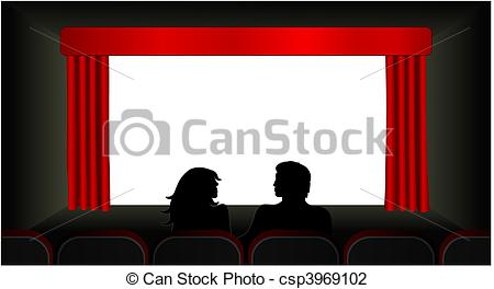 450x264 At The Movies Vector. Vector Illustration Of A Couple In The Front