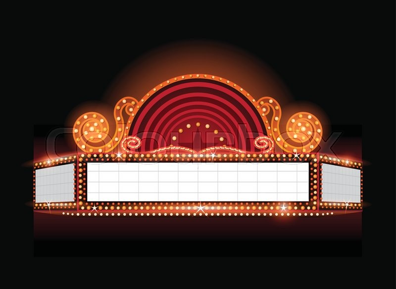 800x584 Brightly Vector Theater Glowing Retro Cinema Neon Sign Stock
