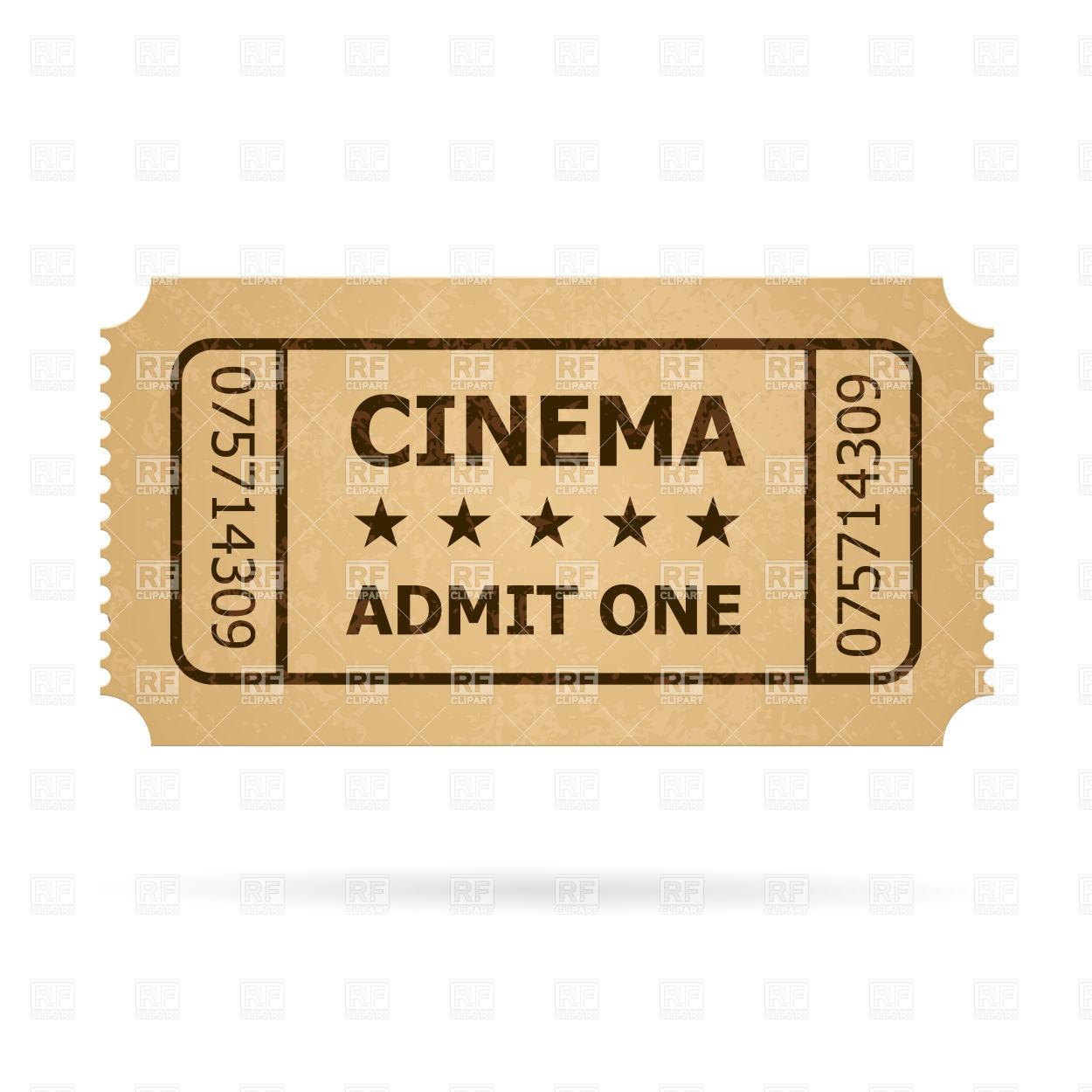 1250x1250 Retro Cinema Cardboard Ticket Vector Image Vector Artwork Of