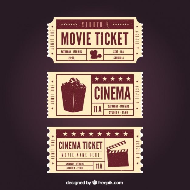 626x626 Three Retro Movie Tickets Vector Free Download