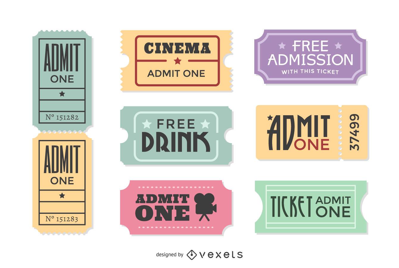 1340x900 Vintage Movie Ticket Vector Set