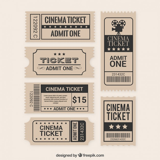 626x626 Collection Of Flat Film Ticket Vector Free Download