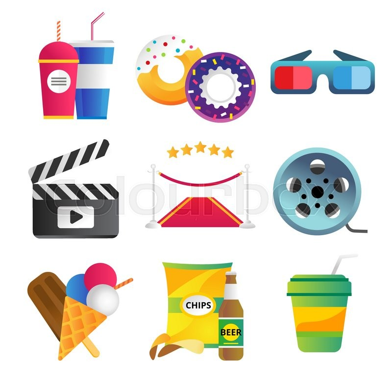 800x800 Movie Vector Icons Set. Movie Icons Isolated, Movie Food And
