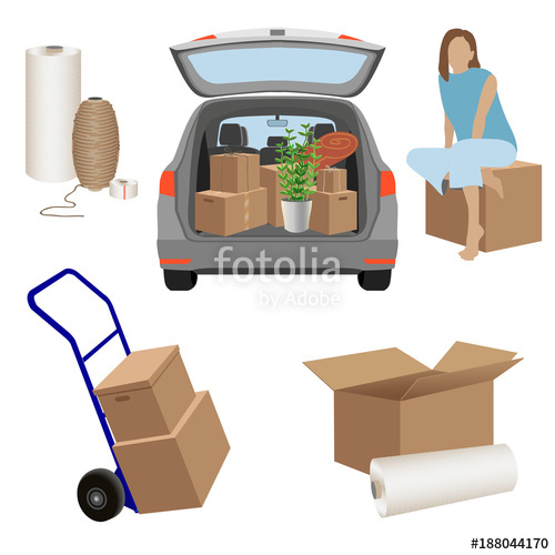 500x500 Moving Day Set Cardboard Boxes, Packing Twine, Stretch Wrap
