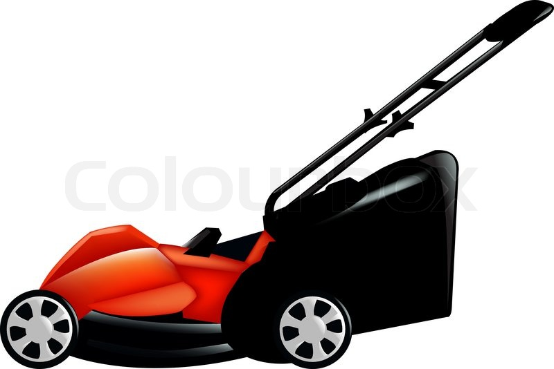 800x534 Red Lawn Mower, Isolated On White Background, Vector Illustration