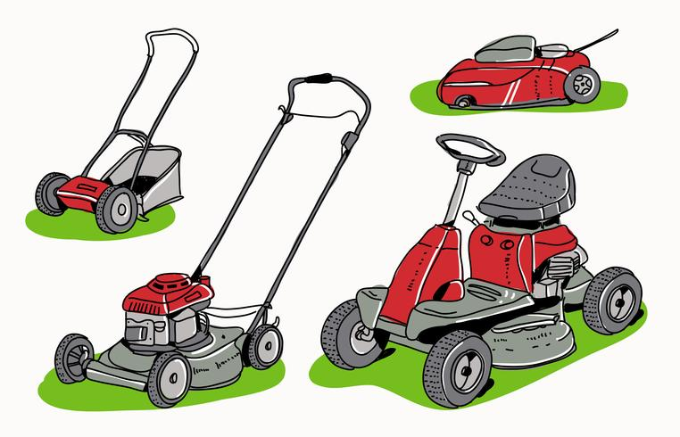 762x490 Red Lawn Mower Collection Hand Drawn Vector Illustration