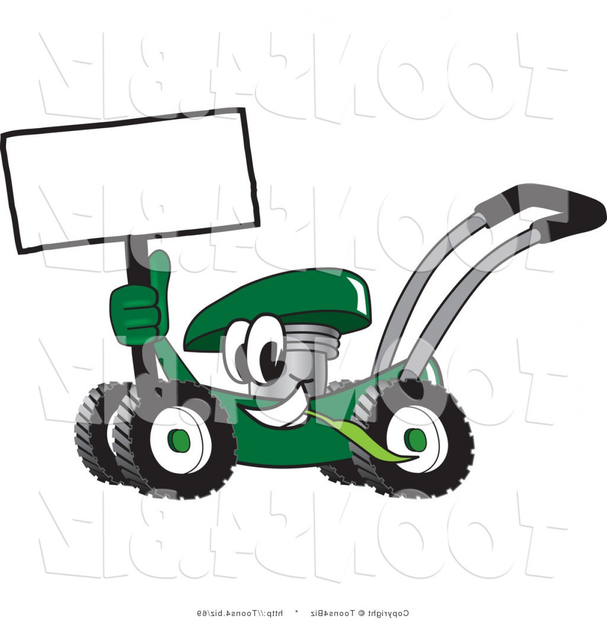 1228x1252 Vector Illustration Of A Green Cartoon Lawn Mower Mascot Holding A