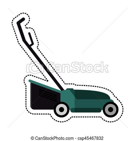 450x470 Cartoon Hand Lawn Mower Gardening Vector Illustration Eps 10.