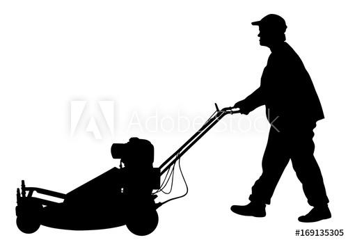 500x345 Gardener Man Mowing Lawn Mower Vector Silhouette Illustration