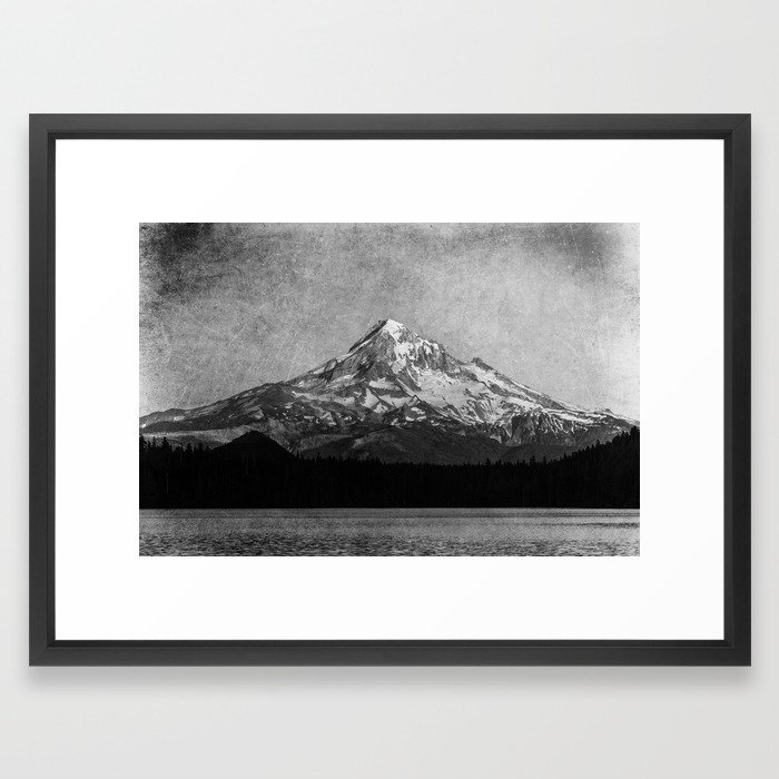 700x700 Mt Hood Black And White Vintage Nature Photography Framed Art