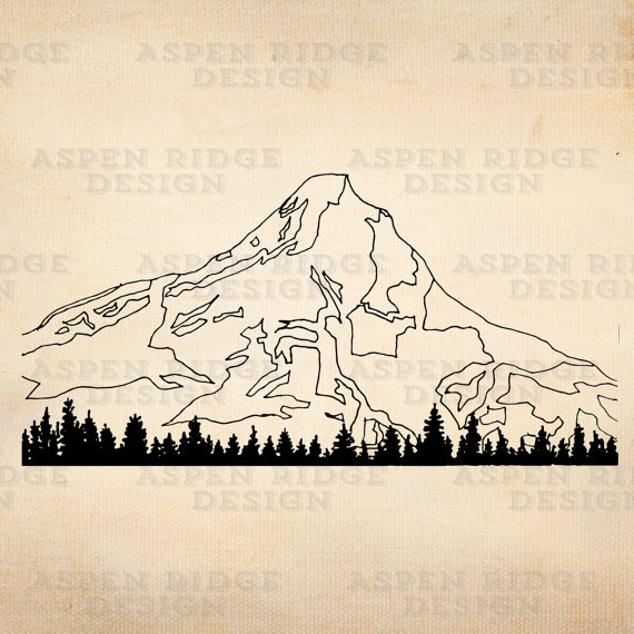 570x570 Mt. Hood Ii Digital Instant Download Vector Clip Art Oregon Ink