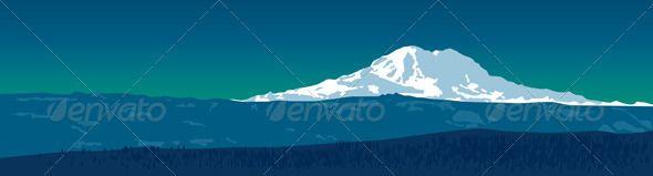 590x159 Mount Rainier Vector Landscapes Design Mount