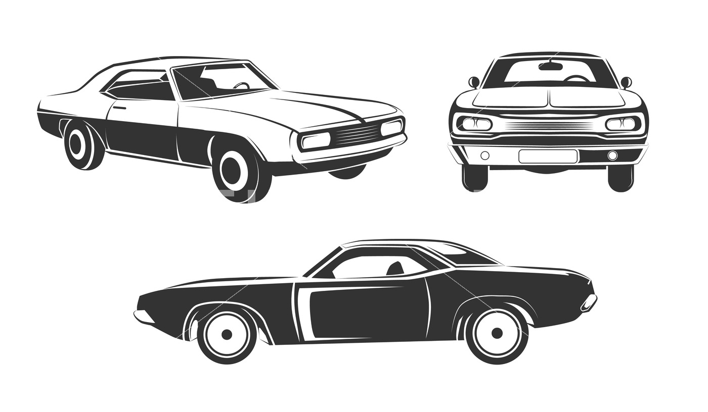 1400x816 Classic Retro Muscle Cars Vector Set By Microvector