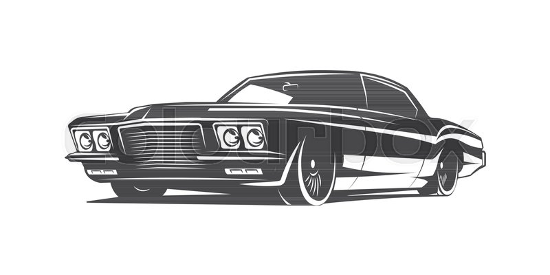 800x400 Muscle Car Black And White Vector Poster Illustration Stock