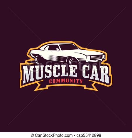 450x470 Muscle Car Logo. American Muscle Car, Vector Logo Template.