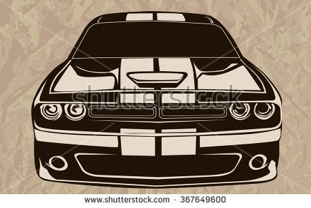 450x301 Old School Muscle Cars Inspired Cartoon Sketch. Vector Abstract