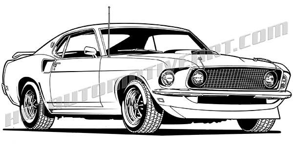 600x304 1969 Ford Mustang Vector Clip Art, Buy Two Images, Get One Image Free