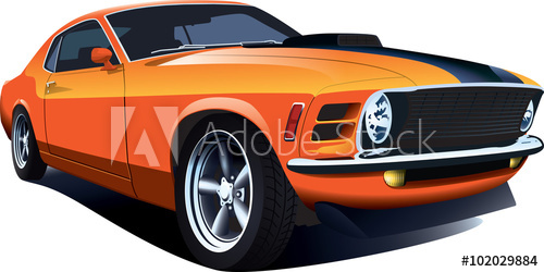 500x250 Orange 70s American Customized Muscle Car. Vector Eps10 Isolated