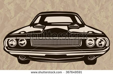 450x301 Retro Muscle Cars Inspired Cartoon Sketch. Vector Abstract Old