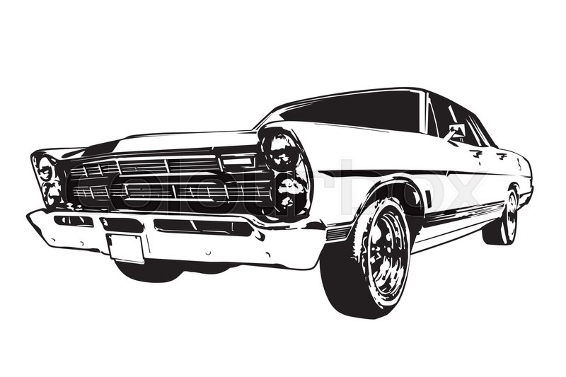 800x533 Silhouette Of Vintage American Muscle Car From The 1960s Stock