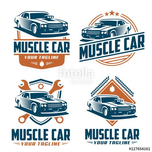 500x500 Vector Vector Pack Of Muscle Car Logo Design, Muscle Car Vector