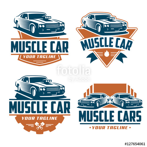 500x500 Vector Pack Of Muscle Car Logo Design, Muscle Car Vector Set